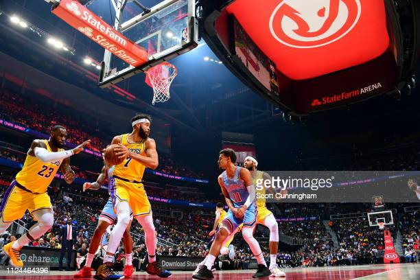 JaVale McGee of the Los Angeles Lakers handles the ball against the Atlanta Hawks on February 12 2019 at State Farm Arena in Atlanta Georgia NOTE TO...