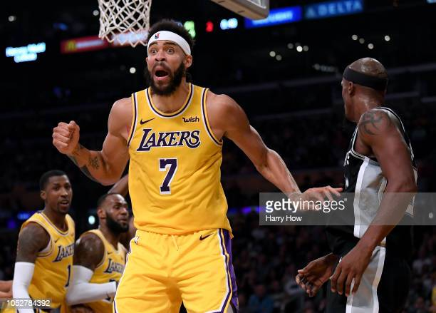 JaVale McGee of the Los Angeles Lakers react for a foul during the first half against the San Antonio Spurs at Staples Center on October 22 2018 in...