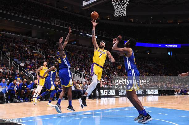 JaVale McGee of the Los Angeles Lakers shoots the ball against the Golden State Warriors on October 12 2018 at SAP Center in San Jose California NOTE...
