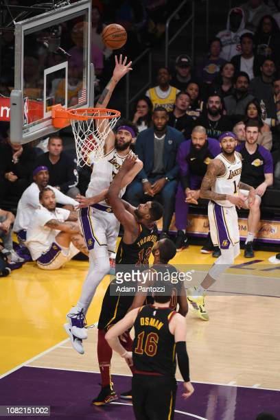 JaVale McGee of the Los Angeles Lakers shoots the ball against the Cleveland Cavaliers on January 13 2019 at STAPLES Center in Los Angeles California...