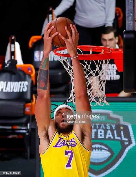 JaVale McGee of the Los Angeles Lakers with a dunk during the third quarter against the Portland Trail Blazers in Game Two of the Western Conference...