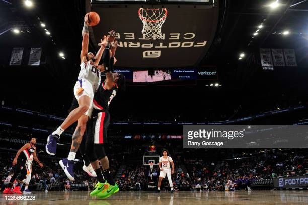 JaVale McGee of the Phoenix Suns drives to the basket during a preseason game against the Portland Trail Blazers on October 13, 2021 at Footprint...
