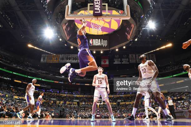 JaVale McGee of the Phoenix Suns dunks the ball during a preseason game against the Los Angeles Lakers on October 10, 2021 at STAPLES Center in Los...