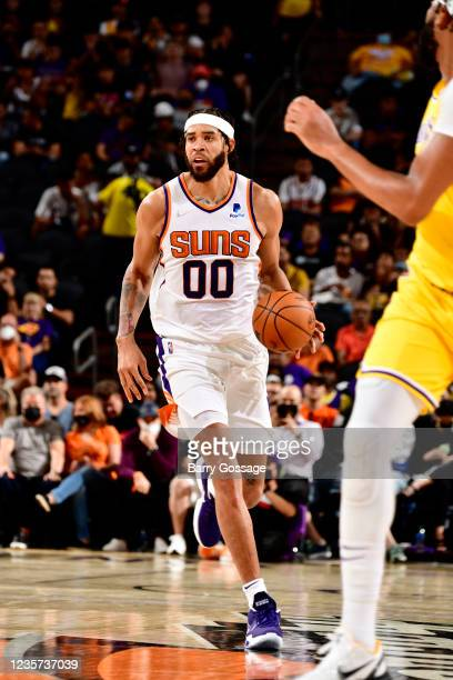 JaVale McGee of the Phoenix Suns handles the ball during the game against the Los Angeles Lakers during a preseason game on October 6, 2021 at...