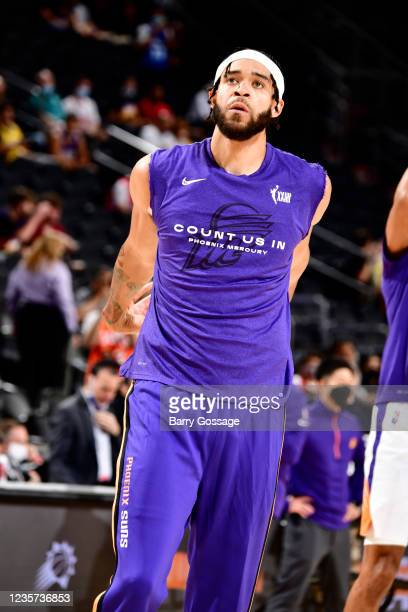 JaVale McGee of the Phoenix Suns looks on before the game against the Los Angeles Lakers during a preseason game on October 6, 2021 at Footprint...