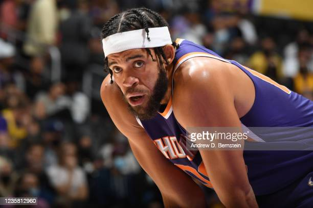 JaVale McGee of the Phoenix Suns looks on during a preseason game against the Los Angeles Lakers on October 10, 2021 at STAPLES Center in Los...