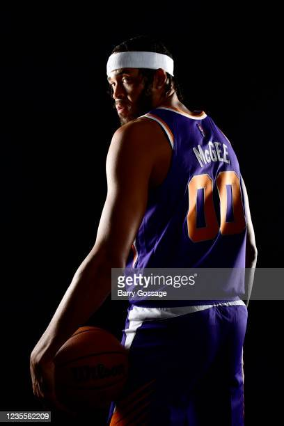 JaVale McGee of the Phoenix Suns poses for a portrait during NBA Media Day on September 27 at the Footprint Center in Phoenix, Arizona. NOTE TO USER:...