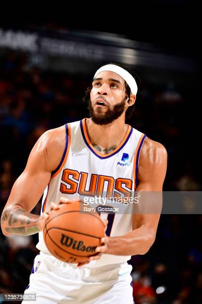 JaVale McGee of the Phoenix Suns shoots a free throw during the game against the Los Angeles Lakers during a preseason game on October 6, 2021 at...