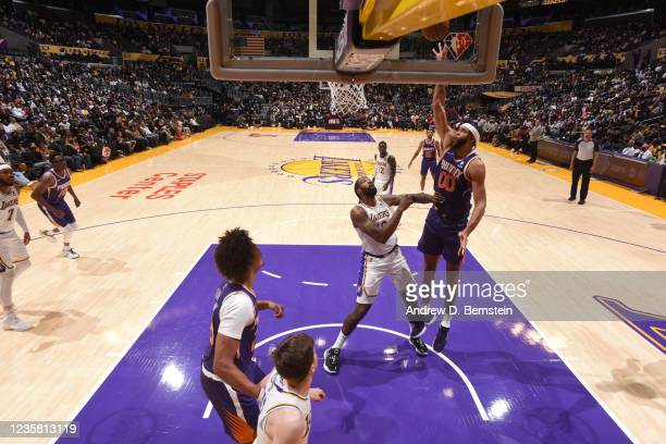 JaVale McGee of the Phoenix Suns shoots the ball during a preseason game against the Los Angeles Lakers on October 10, 2021 at STAPLES Center in Los...