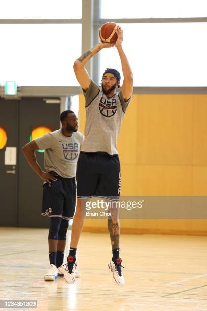 JaVale McGee of the USA Men's National Team shoots the ball during USAB Mens National Team practice on July 29, 2021 in Tokyo, Japan. NOTE TO USER:...