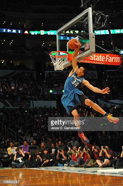JaVale McGee of the Washington Wizards dunks during the Sprite Slam Dunk Contest as part of the 2011 AllStar Saturday Night presented by State Farm...