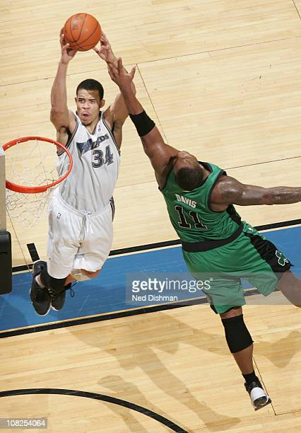 JaVale McGee of the Washington Wizards shoots against Glen Davis of the Boston Celtics at the Verizon Center on January 22 2011 in Washington DC NOTE...