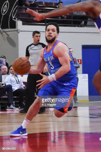 Javan Felix of the Oklahoma City Blue handles the ball against the Long Island Nets at NBA G League Showcase Game 18 on January 12 2018 at the...