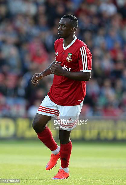 Javan Vidal of Wrexham during the pre season friendly match between Wrexham and Stoke City at Racecourse Ground on July 22 2015 in Wrexham Wales