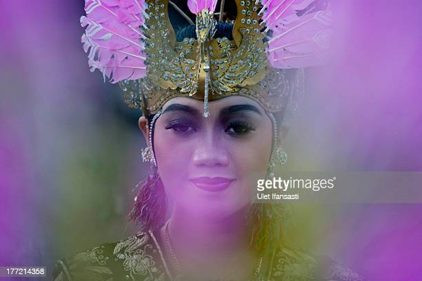 A javanese dancer performs Dandang Gula dance during opening ceremony a classical dance performance at Ratu Boko Temple on August 22 2013 in...