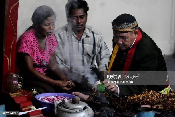 Javanese people pray during Sekaten festival at Surakarta Mosque on January 14 2014 in Solo City Indonesia Indonesia celebrates the birth of Prophet...
