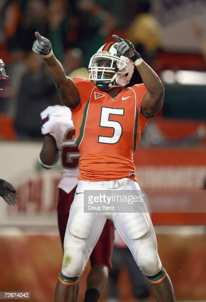 Javarris James of the University of Miami Hurricanes celebrates on the field during the game against the Boston College Golden Eagles at the Orange...
