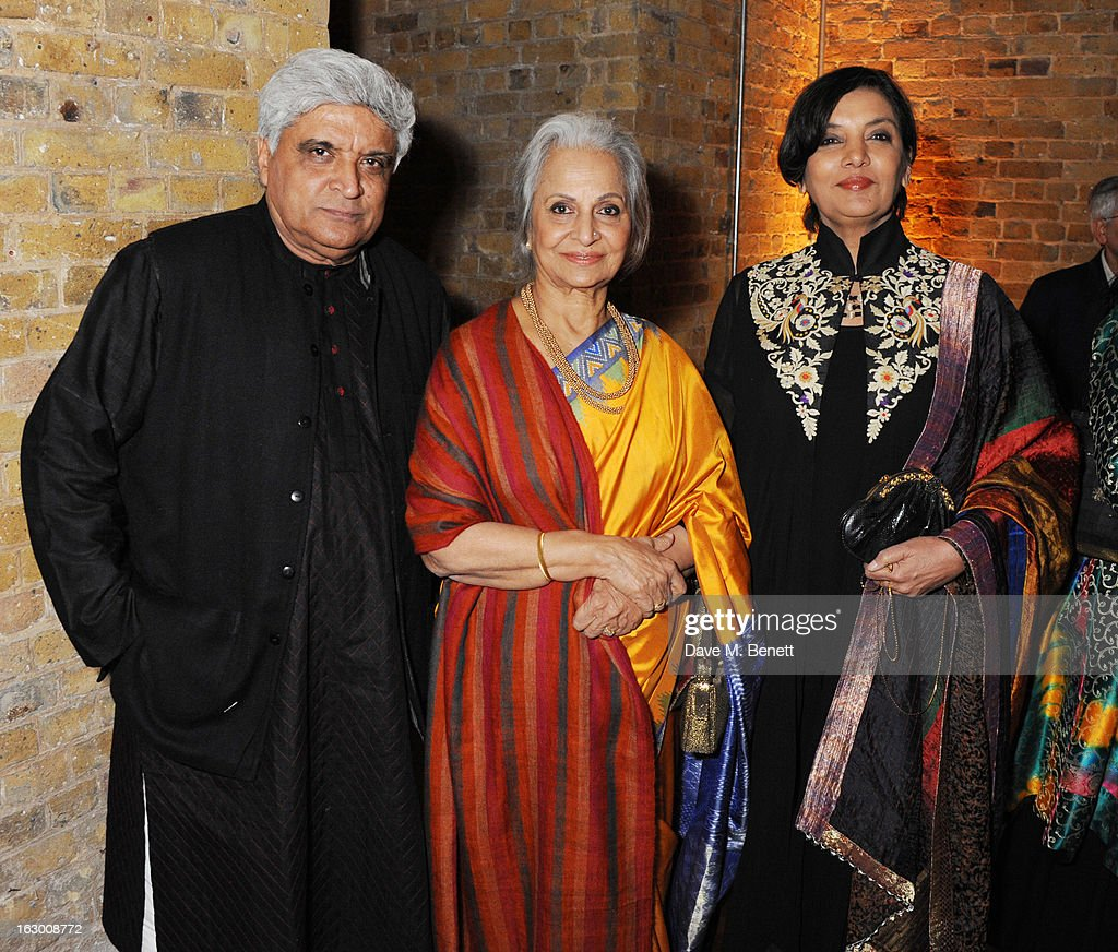 Javed Akhtar, Waheeda Rehman and Shabana Azmi attend a Fashion Gala fundraiser hosted by the Akshaya Patra Foundation for underpriveleged children in India, at Vinopolis, on March 2, 2013 in London, England.
