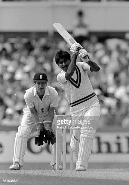 Javed Miandad batting during his innings of 260 for Pakistan in the 5th Test match between England and Pakistan at The Oval London 6th August 1987...