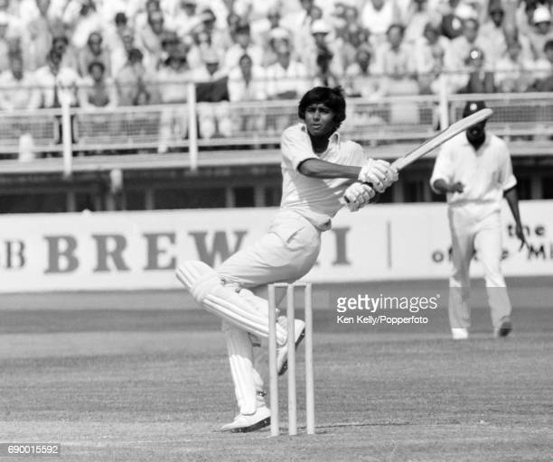 Javed Miandad batting for Pakistan during the Prudential World Cup group match between Pakistan and West Indies at Edgbaston Birmingham 11th June...