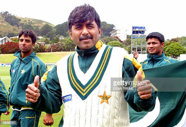 Javed Miandad coach of the Pakistani cricket team gives the thumbs up with Taufeeq Umar and Imran Farhat in the background after their win against...