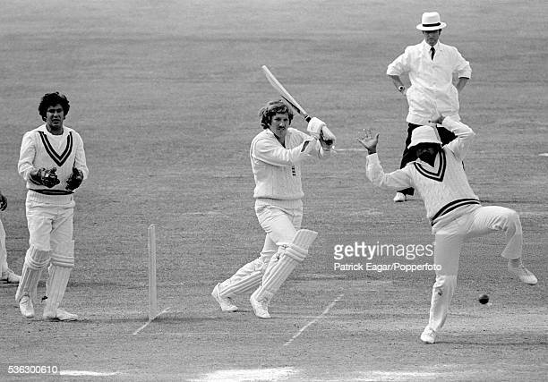 Javed Miandad of Pakistan avoids a shot from Ian Botham of England during the 2nd Test match between England and Pakistan at Lord's Cricket Ground...