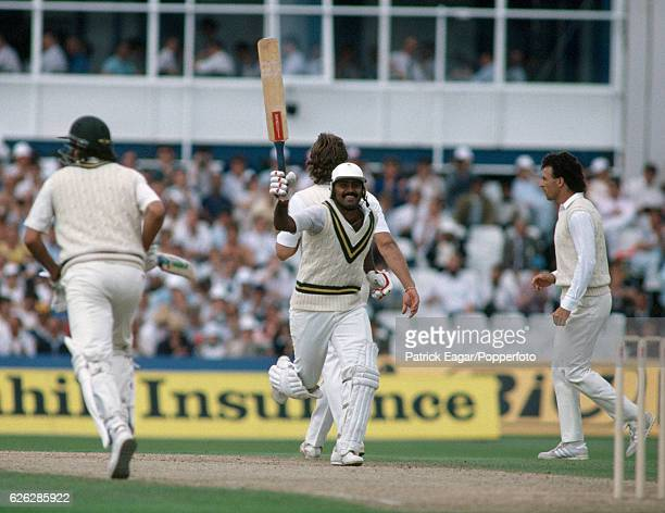 Javed Miandad of Pakistan celebrates during his innings of 260 in the 5th Test match between England and Pakistan at The Oval London 6th August 1987...