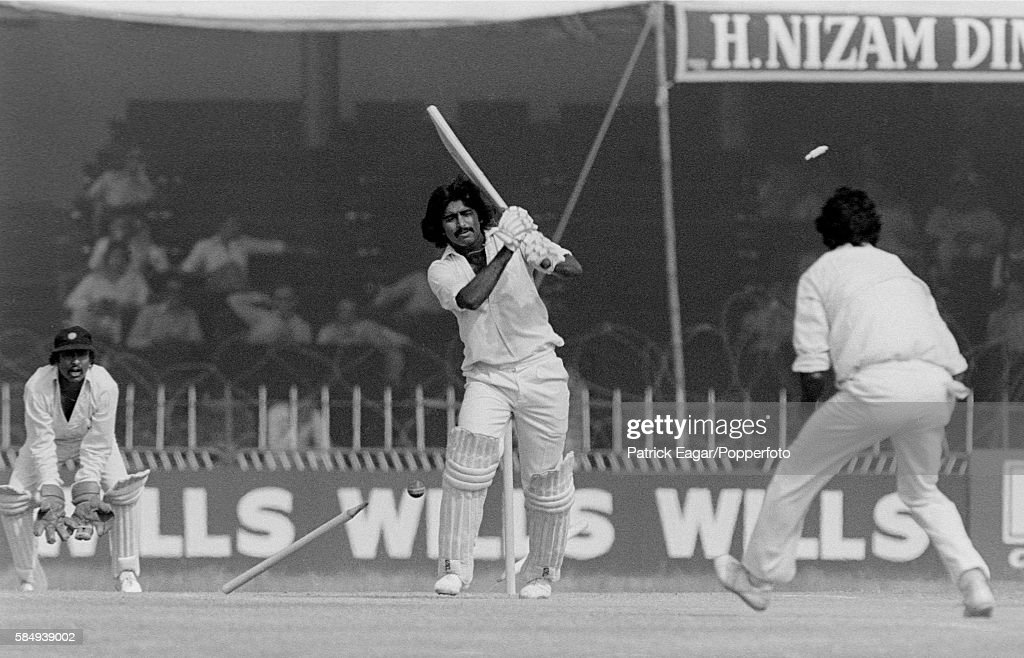 Javed Miandad of Pakistan is bowled by Mohinder Amarnath of India during the 2nd Test match between Pakistan and India at Lahore Pakistan 29th...