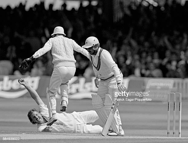 Javed Miandad of Pakistan is caught by Ian Botham of England for 9 in the first innings of the 2nd Test match between England and Pakistan at Lord's...