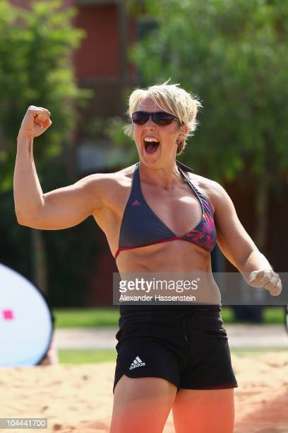 Javelin athlete Christina Obergfoell celebrates after a beach volleyball match during the 'Champion des Jahres' event week at the Robinson Club...