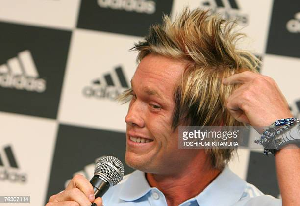 US javelin thrower Breaux Greer is seen 24 August 2007 during a sponsor organised event a day before the start of the 11th IAAF World Championships...
