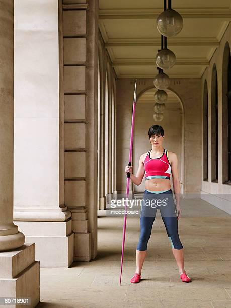 javelin thrower in arcade - women's field event stock pictures, royalty-free photos & images