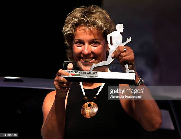 Javelin World Champion Steffi Nerius celebrates winning the 'Champion des Jahres 2009' award during the 'Champion des Jahres' event week at the...