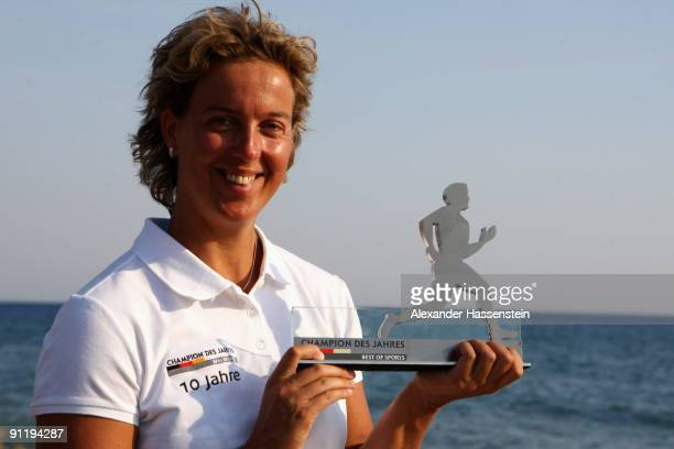 Javelin World Champion Steffi Nerius poses with the 'Champion des Jahres' trophy during the 'Champion des Jahres' event week at the Robinson Club...