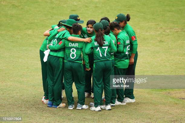 Javeria Khan of Pakistan speaks to her team in the huddle after their bowling innings during the ICC Women's T20 Cricket World Cup match between...