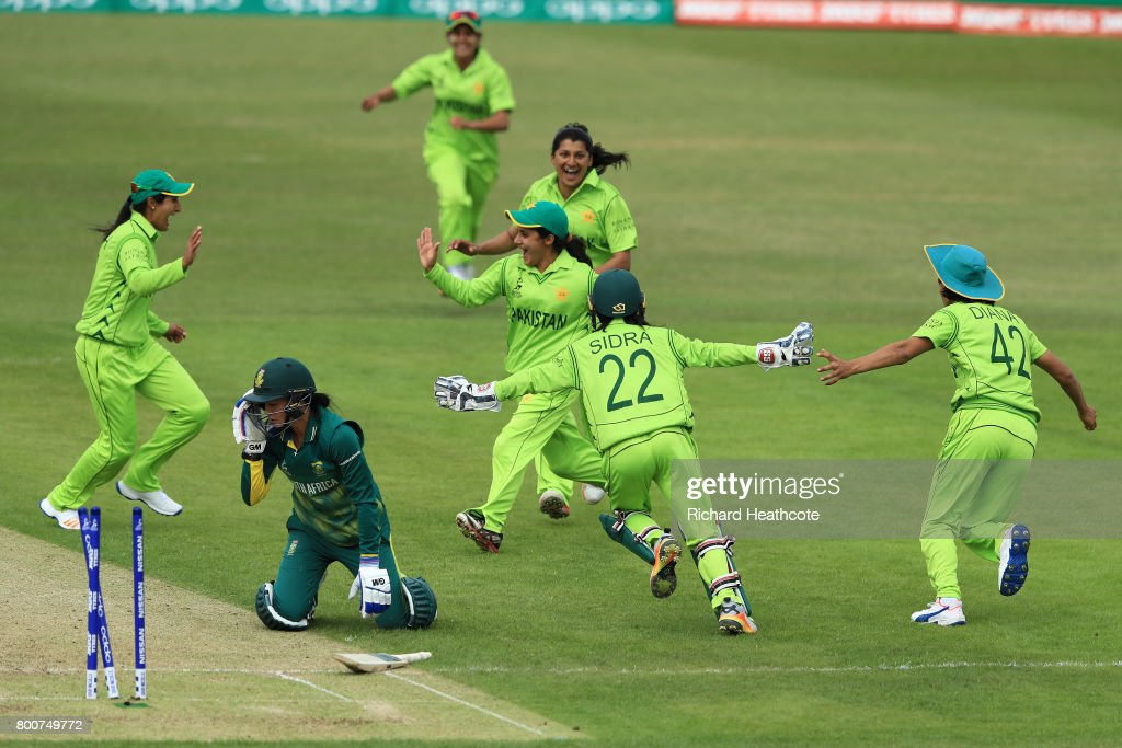 Javeria Wadwood of Pakistan celebrates running out Marizanne Kapp of South Africa during the ICC Women's World Cup group match between Pakistan and South Africa at Grace Road on June 25, 2017 in Leicester, England.