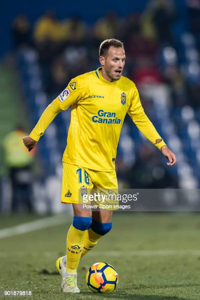 Javi Castellano Betancor of UD Las Palmas in action during the La Liga 201718 match between Getafe CF and UD Las Palmas at Coliseum Alfonso Perez on...