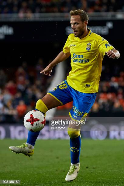 Javi Castellano of UD Las Palmas with the ball during the Copa del Rey Round of 16 second leg game between Valencia CF and Las Palmas at Mestalla on...