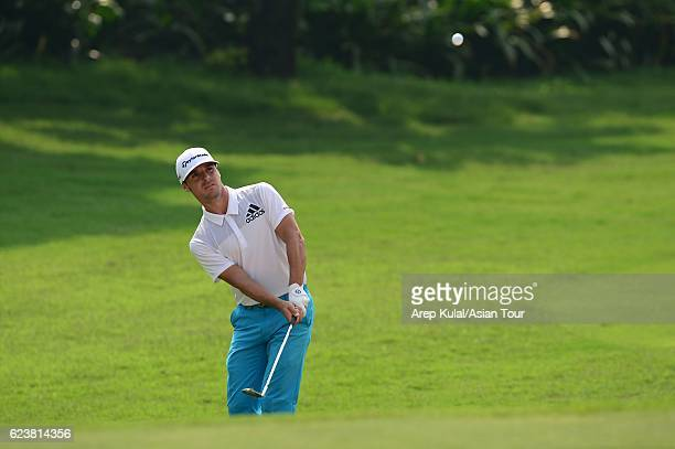 Javi Colomo of Spain plays a shot during round one of the BANK BRIJCB Indonesia Open at Pondok Indah Golf Course on November 17 2016 in Jakarta...