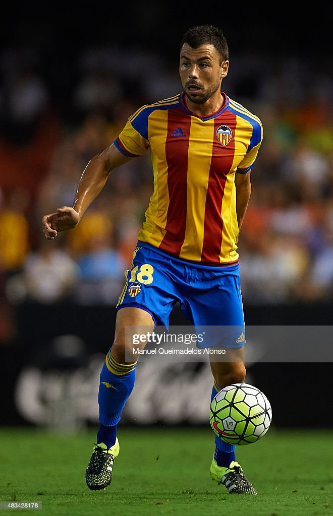 Javi Fuego of Valencia in action during the pre-season friendly match between Valencia CF and AS Roma at Estadio Mestalla on August 8, 2015 in Valencia, Spain.