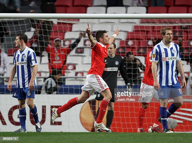Javi Garcia of Benfica celebrates after scoring his team's third goal during the UEFA Europa League knockout round second leg match between SL...