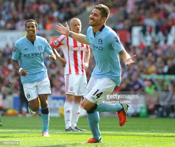 Javi Garcia of Manchester City celebrates scoring the equalising goal during the Barclays Premier League match between Stoke City and Manchester City...