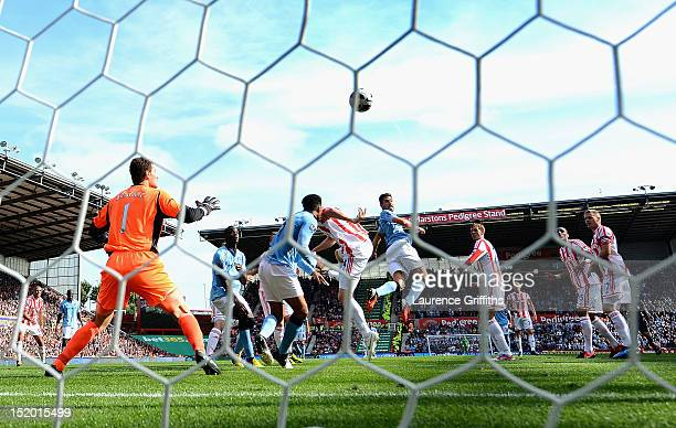 Javi Garcia of Manchester City scores the equalising goal during the Barclays Premier League match between Stoke City and Manchester City at...