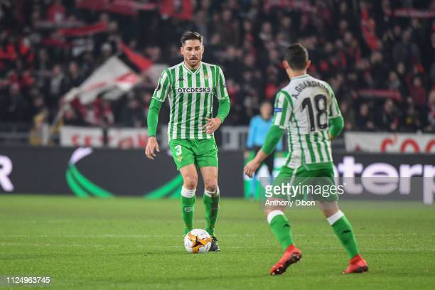 Javi Garcia of Real Betis during the UEFA Europa League Round of 32 First Leg match between Rennes and Real Betis at Roazhon Park on February 14 2019...