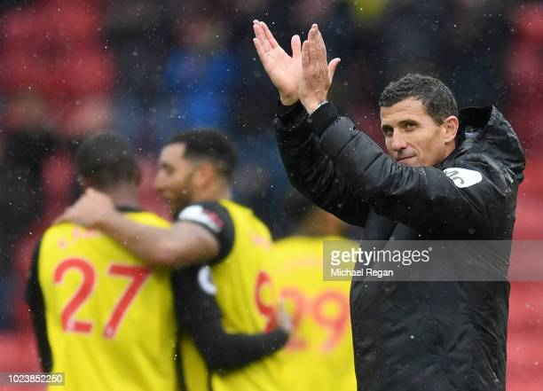 Javi Gracia Manager of Watford applauds fans after following the Premier League match between Watford FC and Crystal Palace at Vicarage Road on...