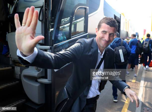 Javi Gracia Manager of Watford arrives ahead of the Premier League match between Watford and Newcastle United at Vicarage Road on May 5 2018 in...
