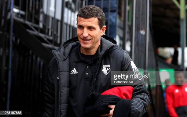 Javi Gracia Manager of Watford arrives prior to the FA Cup Third Round match between Woking and Watford at Kingfield Stadium on January 6 2019 in...