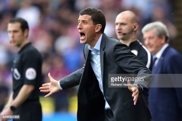 Javi Gracia Manager of Watford gives his team instructions during the Premier League match between Watford and Crystal Palace at Vicarage Road on...