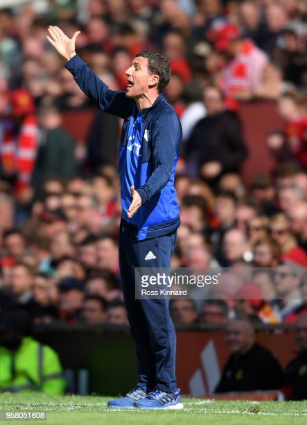 Javi Gracia Manager of Watford gives instruction to his team during the Premier League match between Manchester United and Watford at Old Trafford on...
