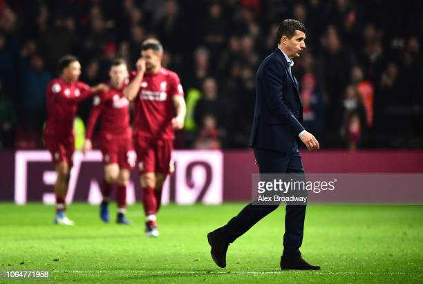 Javi Gracia Manager of Watford looks on during the Premier League match between Watford FC and Liverpool FC at Vicarage Road on November 24 2018 in...